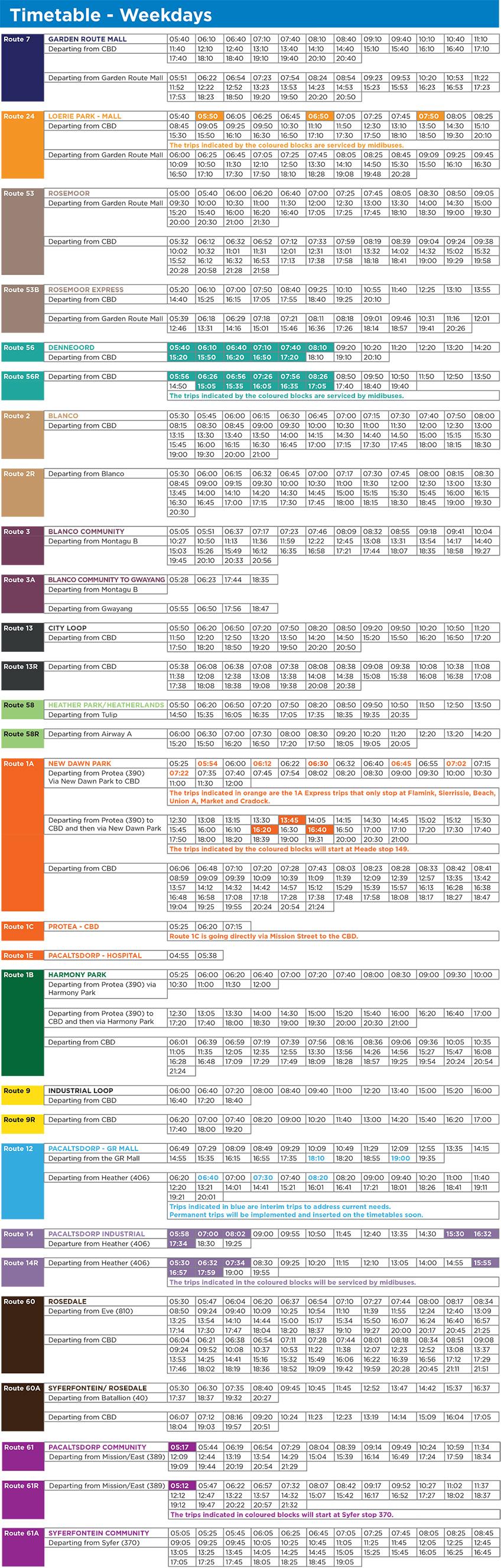Timetable Weekdays