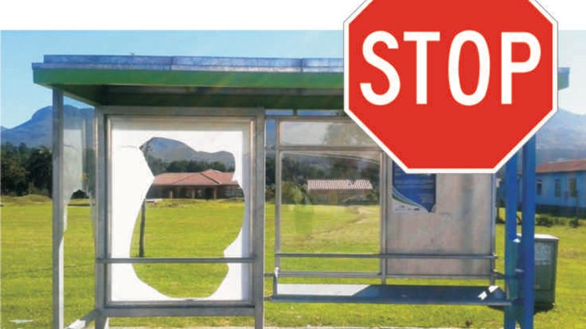 Busstop vandalism