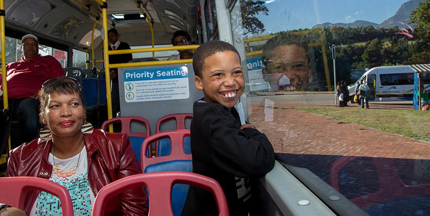 Divann enjoying the bus ride