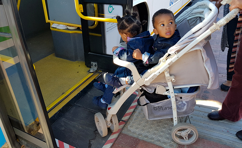 Stroller on ramp