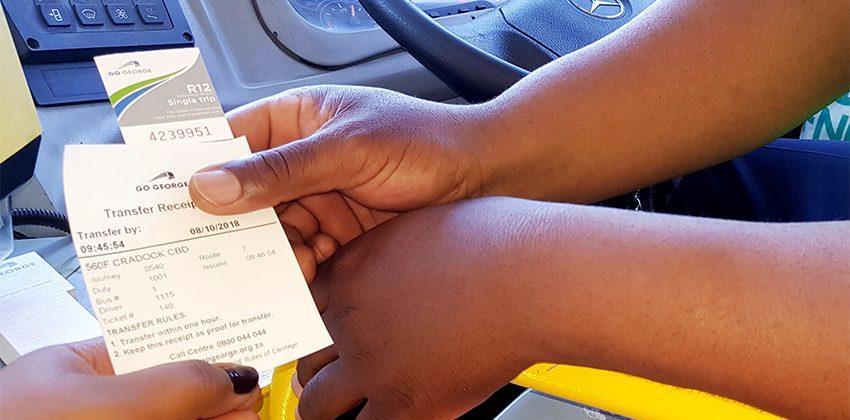 Transfer receipt plus paper ticket