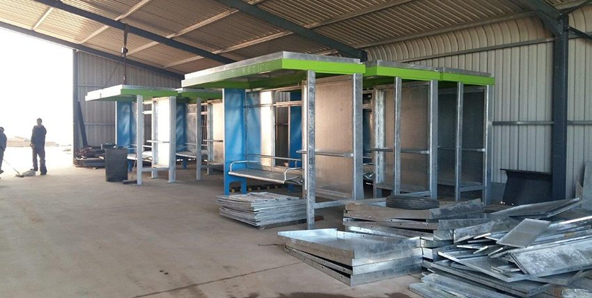 Bus shelters ready for painting