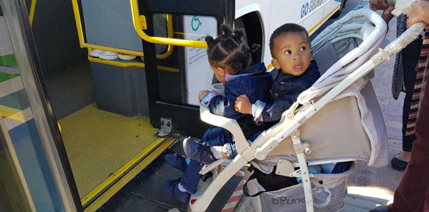 Baby stroller on ramp