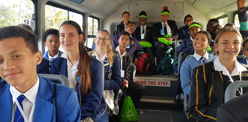 Junior council on bus