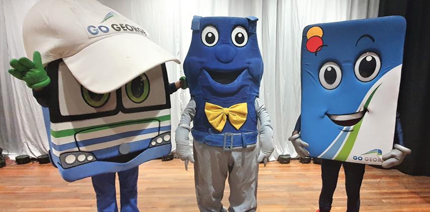 3 mascots at Carpe Diem