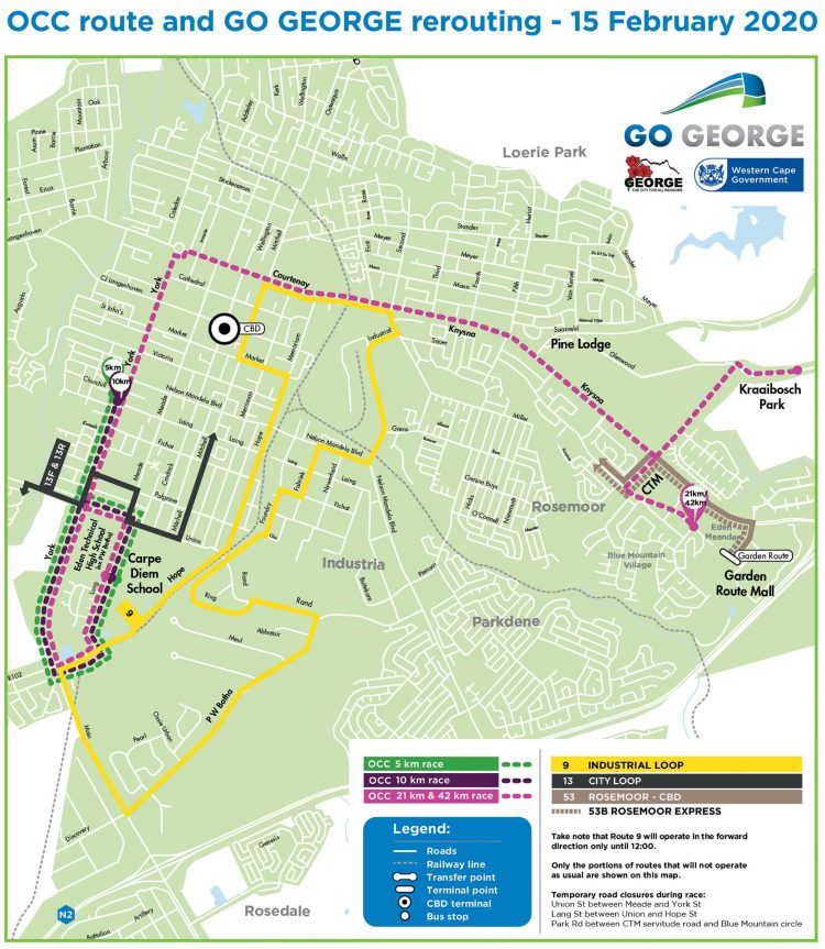GO GEORGE route map OCC 2020