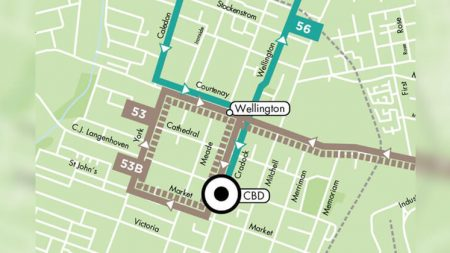 A route map depicting the rerouting of buses due to roadworks in Market Street